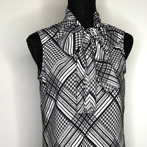 Evan Picone Sleeveless Career Tie-Neck Blouse S